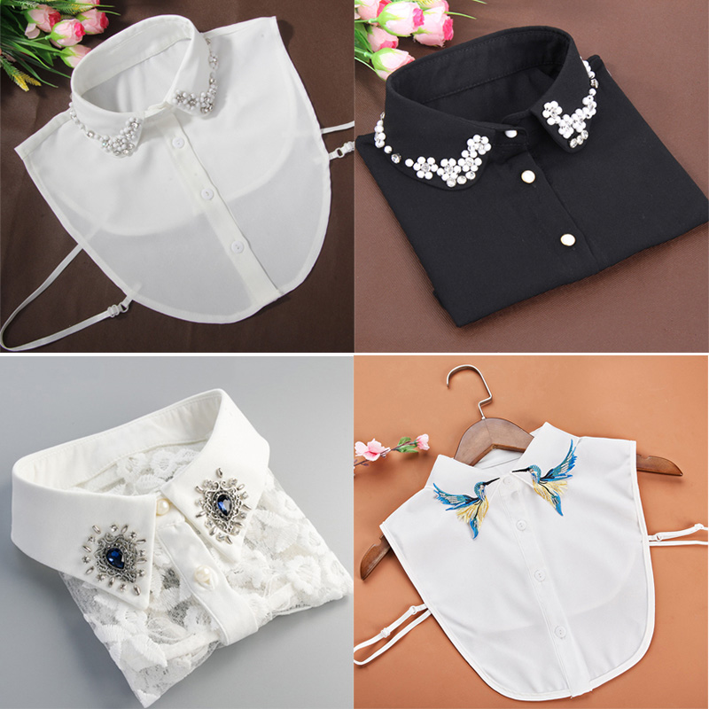 Fashion Shirt Fake Collar For Women Detachable Collar False Collar Lapel Shirt Vintage Embroidered Rhinestone Fake Collar