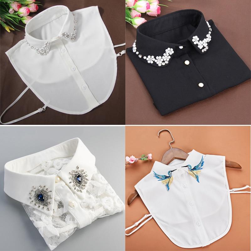 Fashion Shirt Fake Collar For Women Detachable Collar False Collar Lapel Shirt Vintage Embroidered Rhinestone Fake Collar
