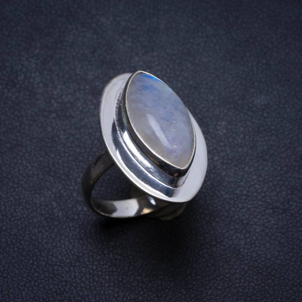 Natural Rainbow Moonstone Handmade Unique 925 Sterling Silver Ring, US size 7.5 X2035 natural rainbow moonstone handmade unique 925 sterling silver ring 6 75 y4681