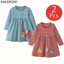 SAILEROAD 2 adet Fil Aplikler Kızlar uzun kollu elbise için 7 yıl Kız Giysileri Hayvan Elbiseler Çocuklar için 6 Yıl Nakış