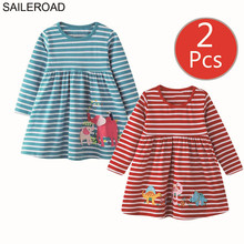 SAILEROAD 2pcs Elephant Appliques Girls Long Sleeve Dress for 7 year Girls Clothes Animal Dresses for Children 6Years Embroidery