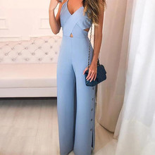 Crisscross Spaghetti Strap Jumpsuit Elegant Women Blue Office Casual Female Hollow Out Wide Leg