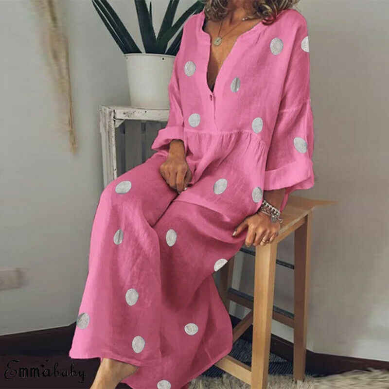 Nieuwe Mode Stijl Vrouwen Lange Mouw Losse V-hals Maxi Jurk Lady Casual Dot Patroon Zomer Strand Lange Jurk