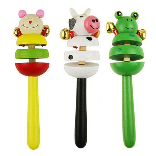 16CM Colorful Wooden Rattle Children Toys Random Color Bell Shaker Stick Toy Cartoon Animal Baby Children's Educational Toys P0