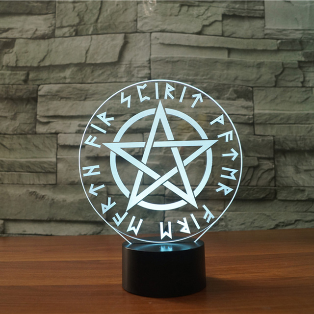 3d Led Occult Satanic Star Symbols Night Light 7 Colors Changing