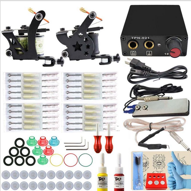 Professional Tattoo kits Complete Equipment Dual Tattoo Machine 2 Guns Inks Power Supply Cord Kit Tattoo set free shipping complete tattoo kit 4 professional tattoo machine kit coil machine guns 54 inks power supply needle grips us warehouse in stock