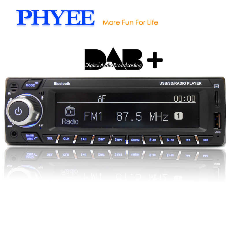 1 Din Autoradio DAB Car Radio Bluetooth Stereo Audio A2DP Handsfree RDS FM AM TF USB APP Remotes ISO In-dash PHYEE SX-MP31089DAB