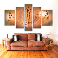 Hand Painted Modern Abstract Oil Painting 5pcs Nude Man Women Dancing Canvas Painting for Living Room Wall Art Picture No Frame