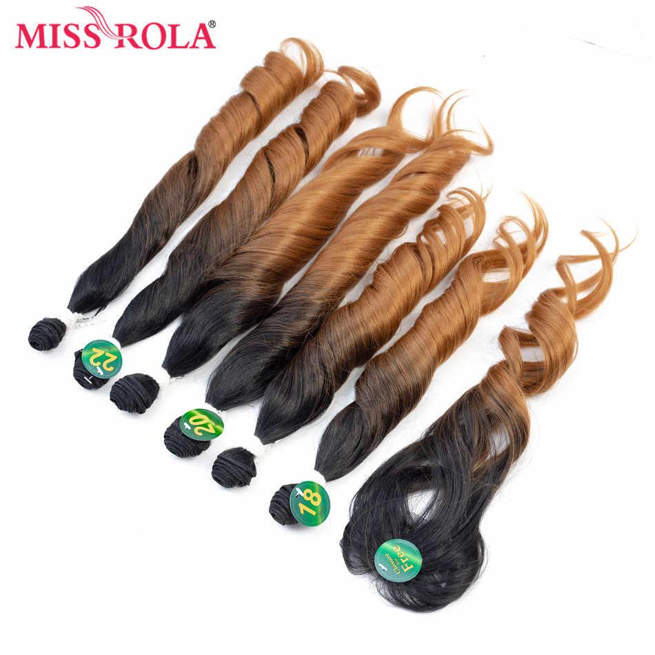 Мисс Рола пучки волос от светлого до темного цвета с застежкой синтетические волосы пучки волос с закрытием свободные волнистые в наборе 18-22 ''7 шт./упак. волосы ткет 230 г