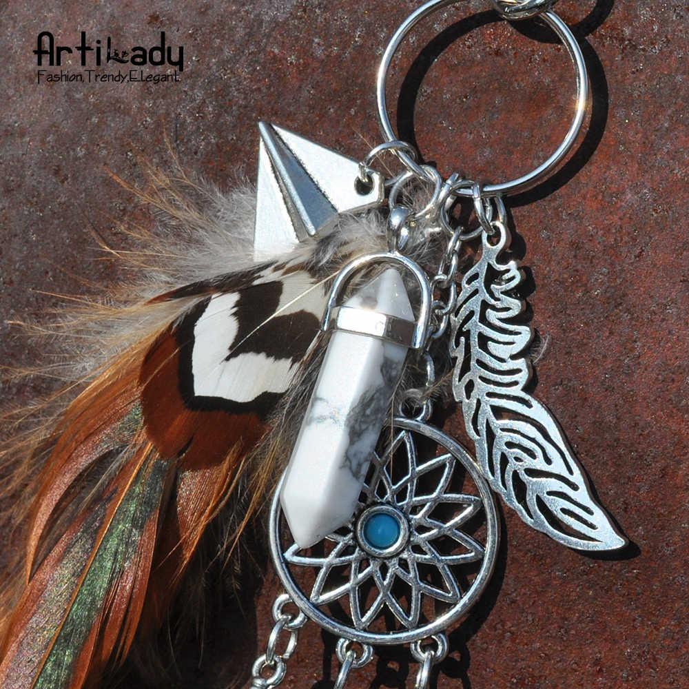 Pedra natural chaveiro charme prata dreamcatcher pena chaveiro para as mulheres boho jóias
