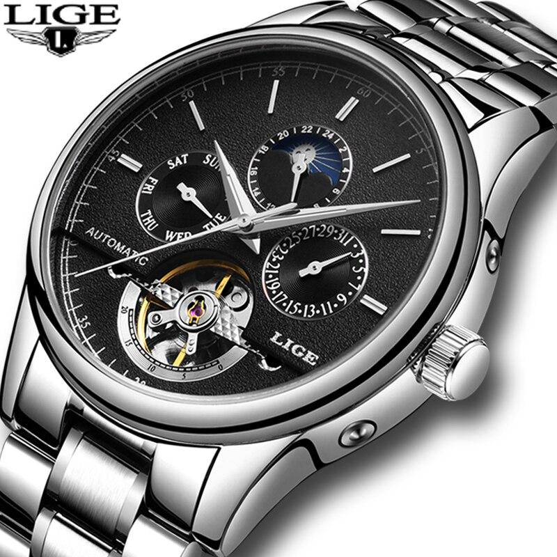 Relogio Masculino LIGE Новый Для мужчин s часы Мужская Мода Бизнес часы турбийон автоматические механические часы Нержавеющаясталь часы