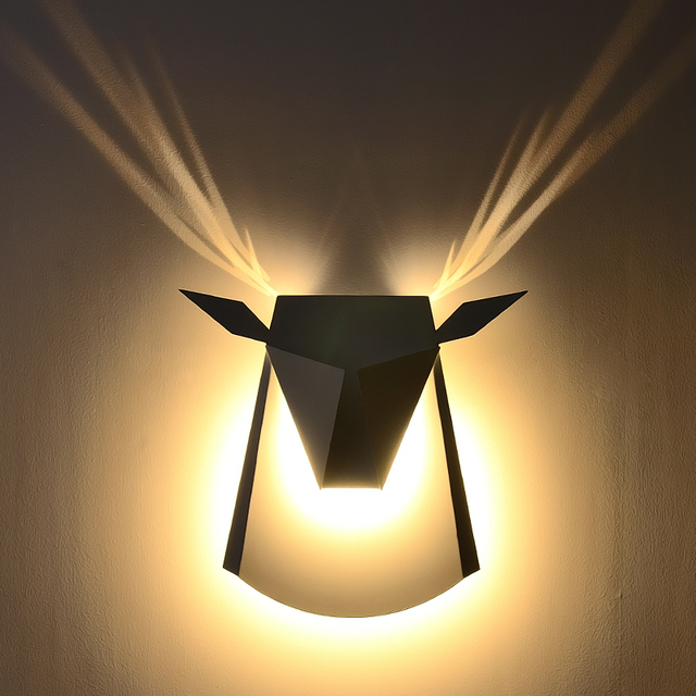 Post modern antlers wall lamp simple creative projectionlamp led ...