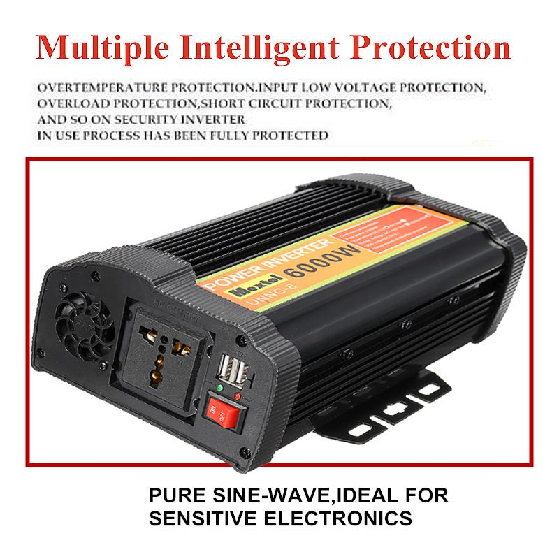 Inverter 6000W 12 V to AC 220 Volt LCD Digital Max 12000 Watt Modified Sine Wave Converter Car Charge Converter Transformer USB - 3