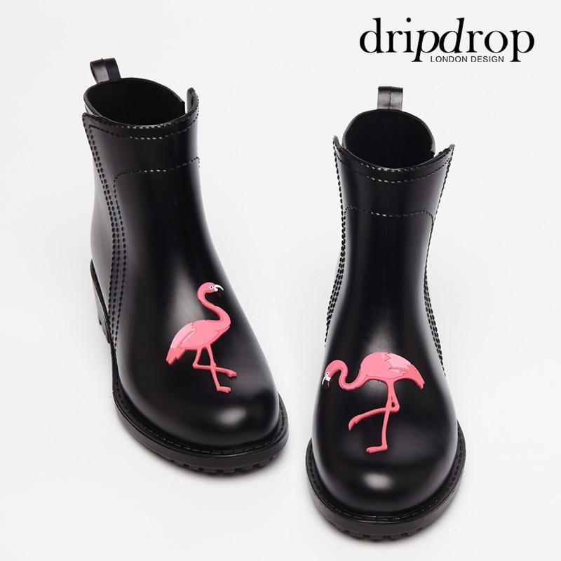 En Cheville Damen Talons gris Hauts À Bottes Pluie Flamingo Pvc Gummistiefel Courtes Femelle Femmes Rainboots Noir Caoutchouc Eau Étanche Chaussures 6xqRa4FPWw
