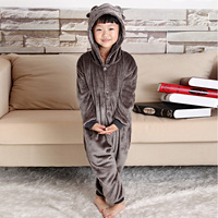 New Children Wolf Sheep Winter Pajamas Animal Flannel Pajama Sets Cartoon Pyjamas With Hooded Sleepwear Nightwear