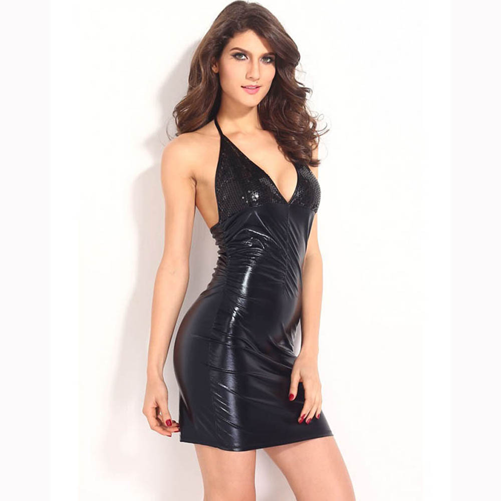 <font><b>Sexy</b></font> Vinyl Latex Halter Mini <font><b>Dresses</b></font> Ladies Deep V Neck Sequins Backless Night Clubwear <font><b>Exotic</b></font> <font><b>Apparel</b></font> Leather <font><b>Dress</b></font> image
