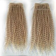 7A Qicai Hair Peruvian Blonde Human Hair Kinky Curl Peruvian Hair Weave Extensions 3 Bundles Blonde Virgin Hair
