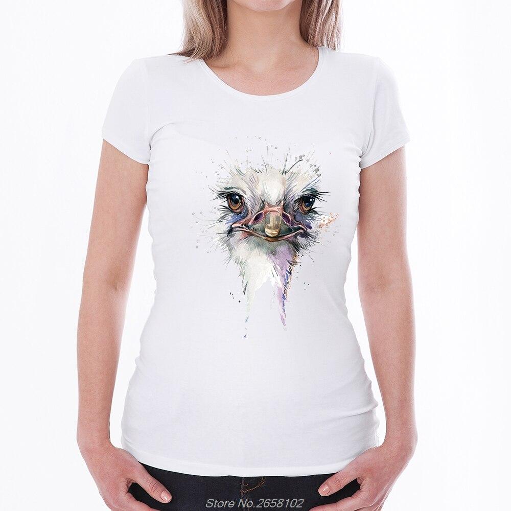 0fde9891fcdd2 US $4.74 5% OFF Watercolor Parrot/Owl/Ostrich Print T Shirt Women Short  Sleeve T Shirt Summer Tops Causal Funny Tshirt Harajuku Streetwear-in  T-Shirts ...