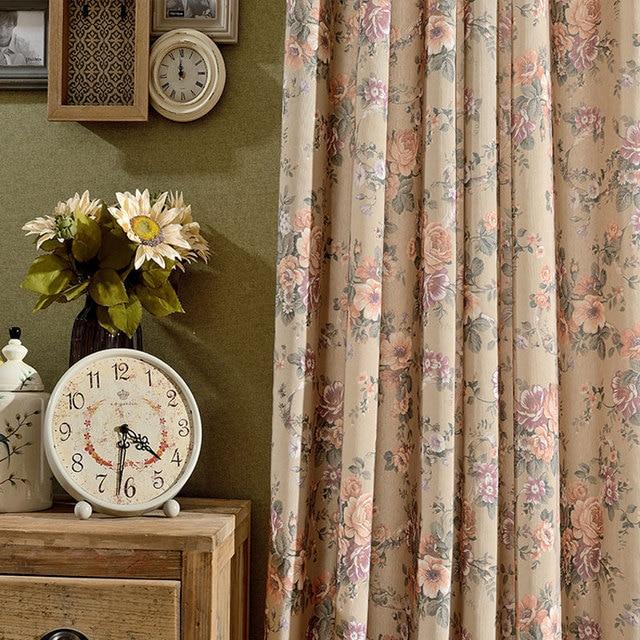 Cafe Küche Innendekoration Zu Hause Vintage Stil Vorhänge Für Wohnzimmer  Braun Blumenmuster Baumwolle Fenster Vorhang B16123