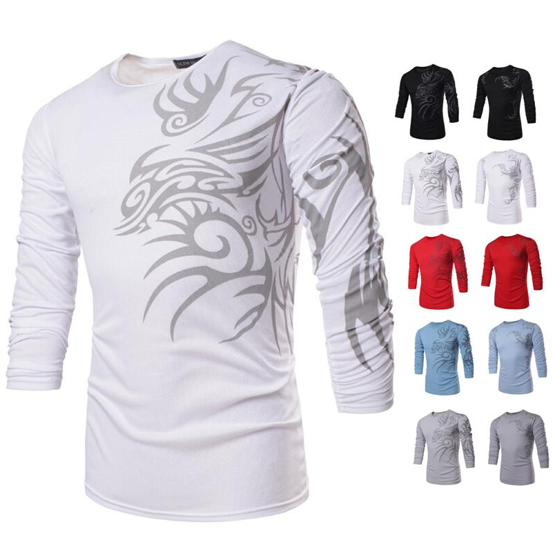 20161 Hot Men's Cool T Shirt Dragon Print T Shirt Long Sleeve ...