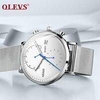 OLEVS Mens Watches Top Brand Luxury Waterproof 24 Hour Date Quartz Watch Man Milanese Steel Strap