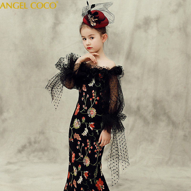 купить Ball Gown Round Neck Light Black Tulle Flower Girl Dress Appliques First Communion Dress Wedding Party Custom Made Robe Fille недорого