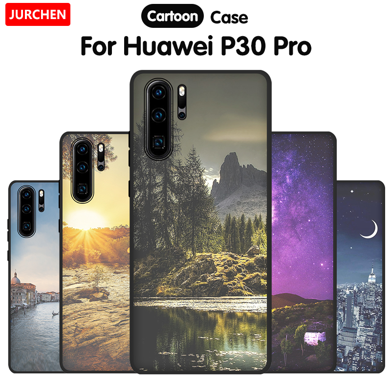 JURCHEN TPU Silicone For Huawei P30 Pro Case Cartoon Print Soft Back Cover Phone Case For Huawei P30 / P30 Pro Back Cover P 30