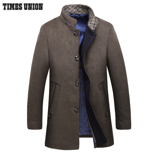 2016 nova chegada dos homens casaco de lã de médio-longo macho espessamento cashmere larrge outerwear trincheira inverno plus size 5XL 6XL 7XL 8XL