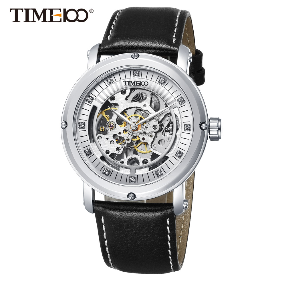 цена 2017 New TIME100 Men Mechanical watch Automatic Self-wind Skeleton Watches Black Leather Business Causal Wrist Watch For Men