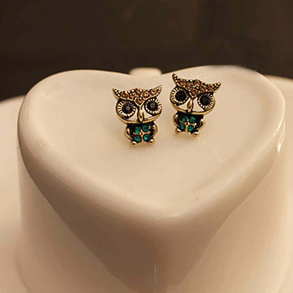 Fashion Style Owl Rhinestone Cute Vintage Ear Stud Earrings Cute Girl Women beautiful accessories