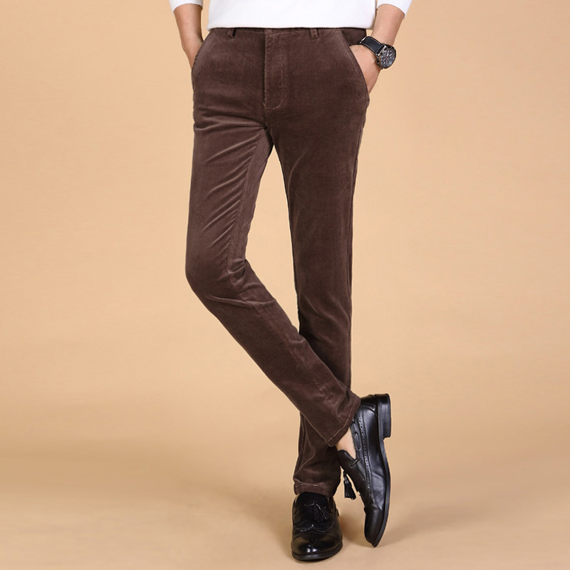2017 winter Men New Business corduroy long pants stretch corduroy trousers Slim small straight casual pants plus size 38
