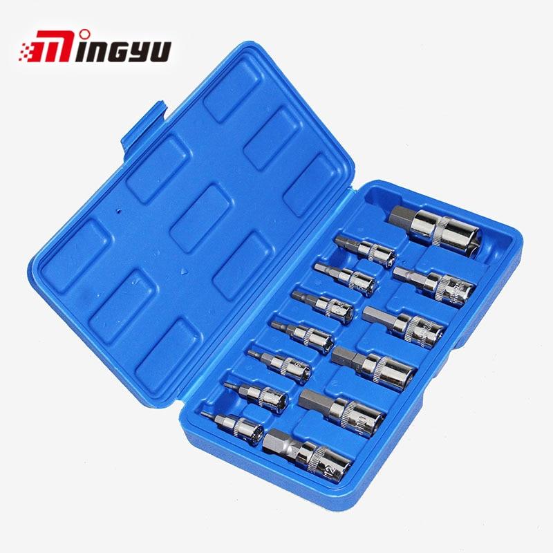 Tools Hex Screwdrivers 3/8 1/4 1/2 Car Repair Tools Ratchet Wrench Set Cr-v Combination Bit Set Tool Kit 13pcs Spanner Socket Set Screwdriver