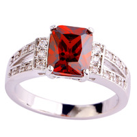 2015 Absorbing Classic Women Rings Emerald Cut Red Ruby Spinel 925 Silver Ring Size 10 Wholesale Free Shipping