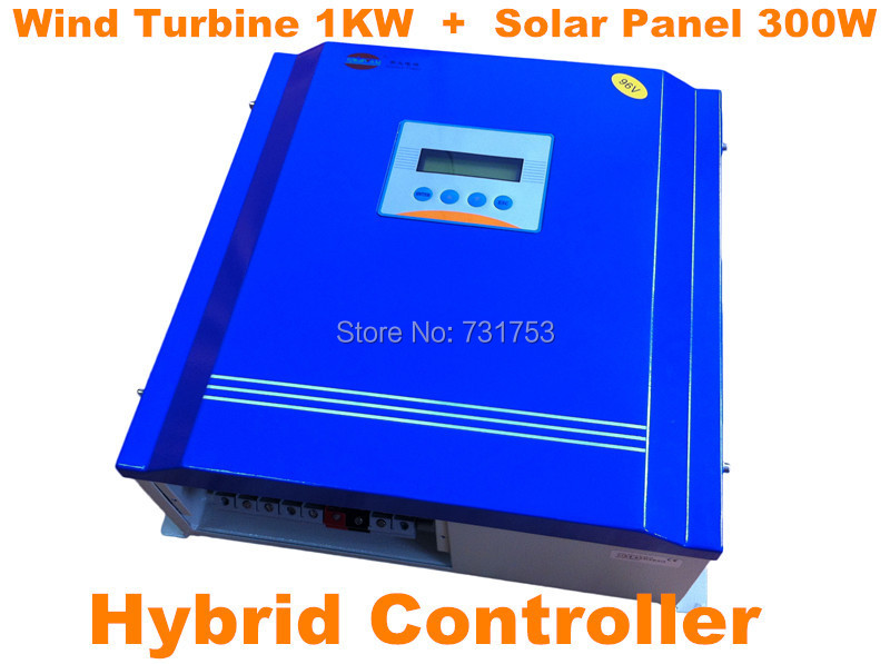 Wind&Solar Hybrid Controller 24V or 48V Battery Charge Controller With Communication LCD Display For Wind Turbine1KW + PV 300W недорого