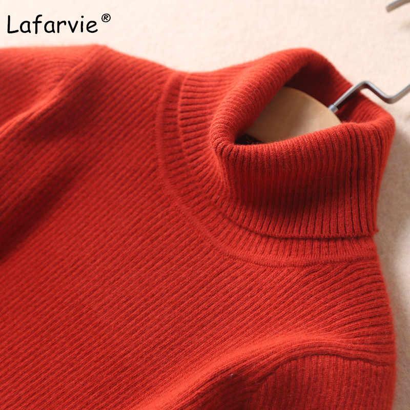 Lafarvie באיכות גבוהה Slim נשים סוודר חדש גולף בסוודרים חורף חולצות מוצק קשמיר סוודר סתיו נשי סוודר חם