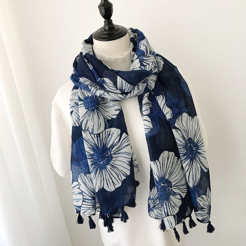 Flower   Scarf   Women   Scarf     Wraps   Spring Summer Long Tassel   Scarves   Flora Shawl   Wraps