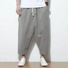 Plus Size 5XL Men Wide Legs Pants Linen Ankle-Length Big Drop Crotch Harem  HipHop Baggy Joggers Casual Cross-pants Male Summer 8ca825f9a65e