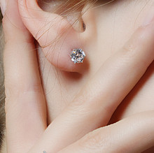 1 Pair silver plated ear stud earing crystal with stone for women and men Fashion Luxury