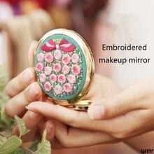 DIY Kit de bordado compacto de bolsillo espejo de maquillaje Floral doble lado plegable mujeres Vintage espejo cosmético regalo hecho a mano Jun13