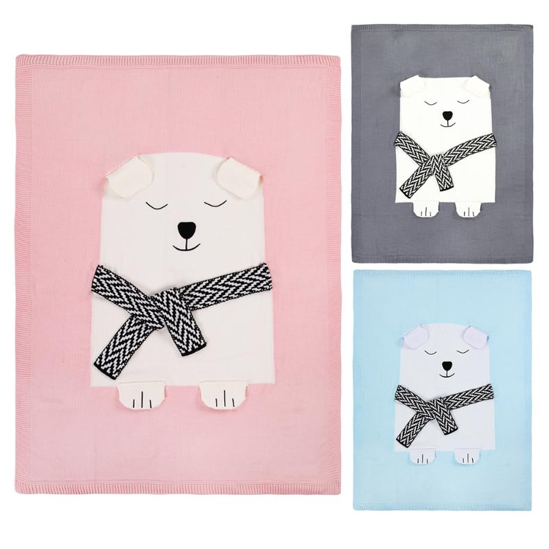 Toddler Baby Knitted Sleeping Blanket Bear/Rabbit Print Wool Swaddling Blankets Bed Sofa Cover Wrap Soft Blankets flamingo patch zipper swing dress