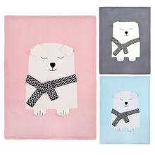 Toddler Baby Wool Knitted Blanket 80 X 110cm Bear Pattern Sleeping Swaddling Blankets Bed Sofa Cover Wrap Soft Blankets