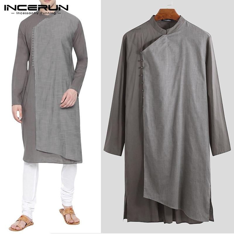 INCERUN Men Shirts Islamic Muslim Kaftan Clothes Cotton Long Sleeve Patchwork Long Shirt Stand Collar Men Indian Tops S-5XL
