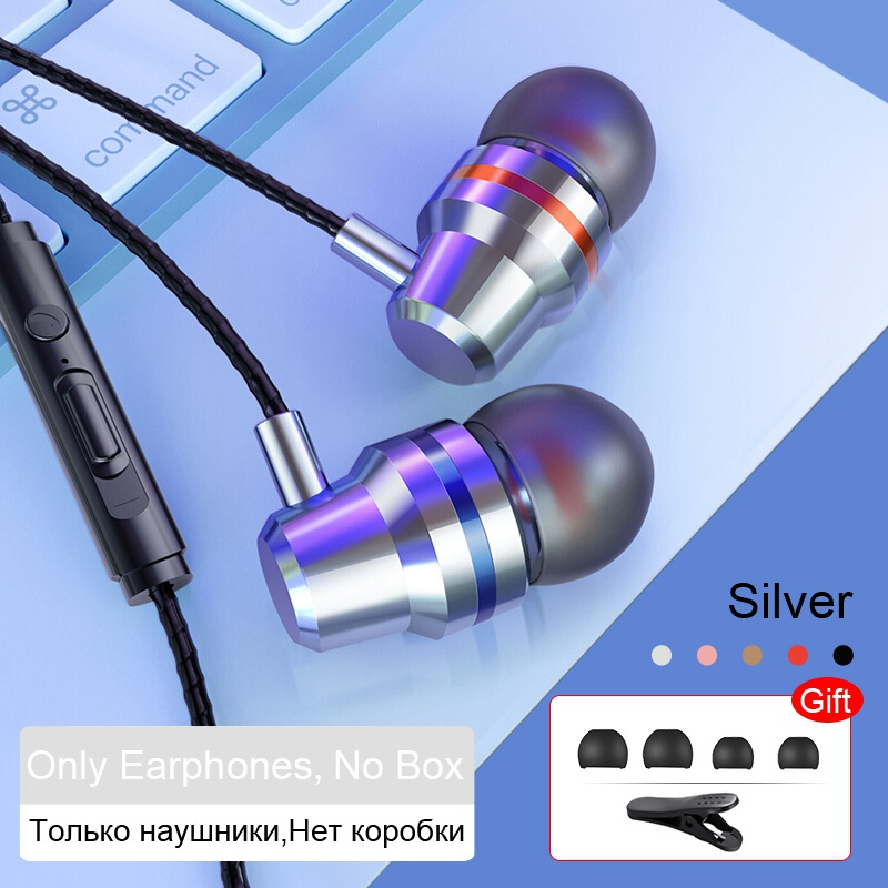 TOMKAS Wired Earbuds Headphones 3.5mm In Ear Earphone Earpiece With Mic Stereo Headset 5 Color For Samsung Xiaomi Phone Computer (4)