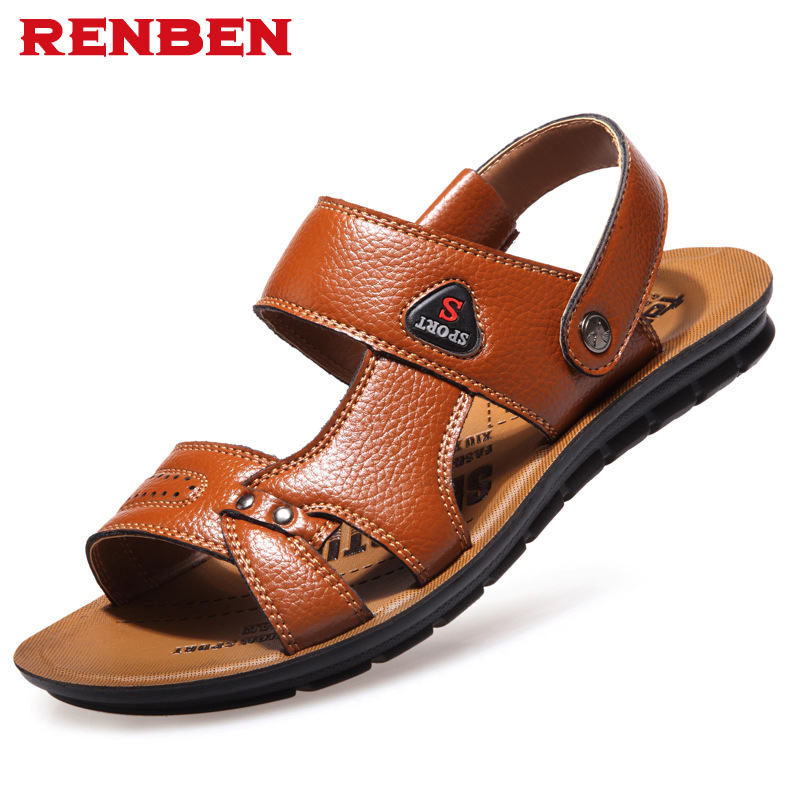 2018 Brand Summer Men PU leather Beach Sandals Outoor Male Elastic Slippers Men Cool Casual Shoes Plus Size