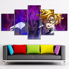 The Seven Deadly Sins Anime HD Print Wall Art Canvas Art For Living Painting Wall Art Home Decor 5 Piece Home Painting Modern