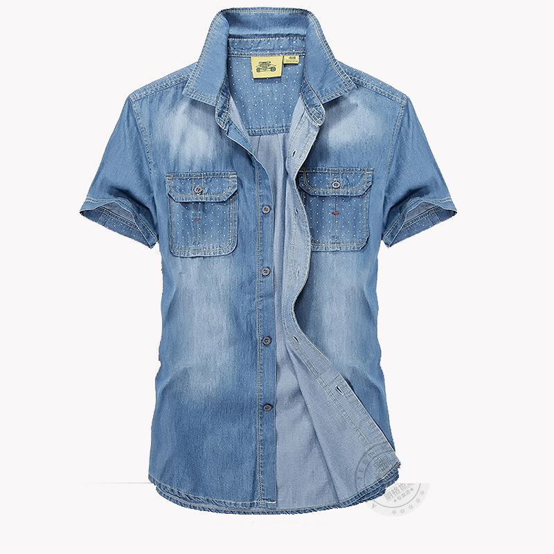 CLOTHES MENS SHIRTS SHORTS JEANS COTTON CASUAL FASHION NEW COWBOY SHIRTS MEN SOLID SUMMER ALL MATCH OUTLET BRAND-CLOTHING NEW