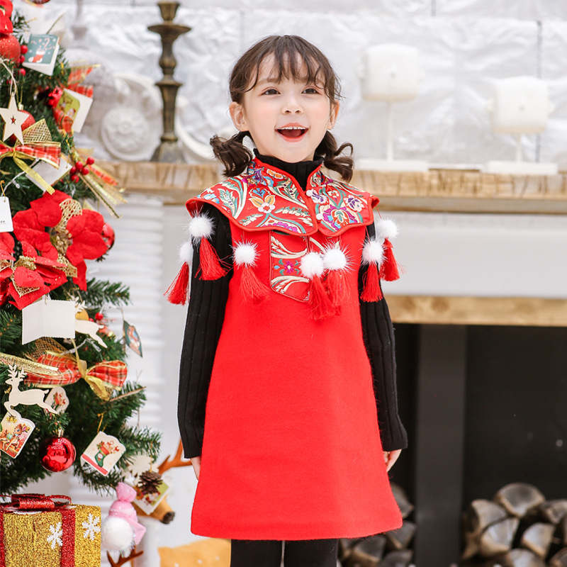 National Chinese dress for children, girls vest, , red year, new year, mink, fur, hair, shawls, two piecesNational Chinese dress for children, girls vest, , red year, new year, mink, fur, hair, shawls, two pieces