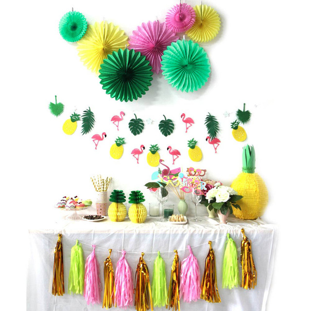 Pack Of 31 Summer Party Decoration Kit Banners Pinweels Tropical Birthday Flamingos And Pineapples Luau Bridal Shower Wedding