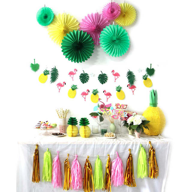 Pack Of 31 Summer Party Decoration Kit Banners Pinweels Tropical Birthday Flamingos And Pineapples Luau Bridal