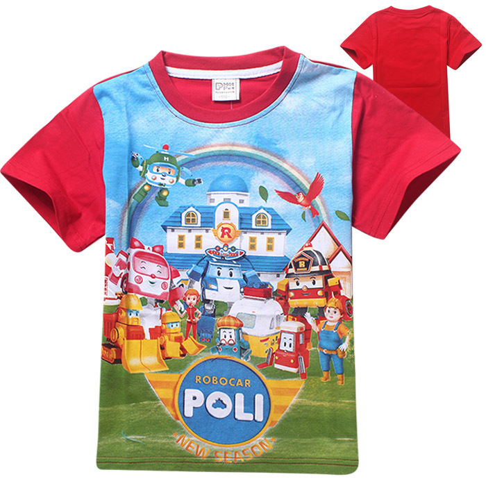 wholesale 10pcs/lot Robocar Poli Summer Tops Boys T shirts For Kids Cartoon Printed Children Costume ...